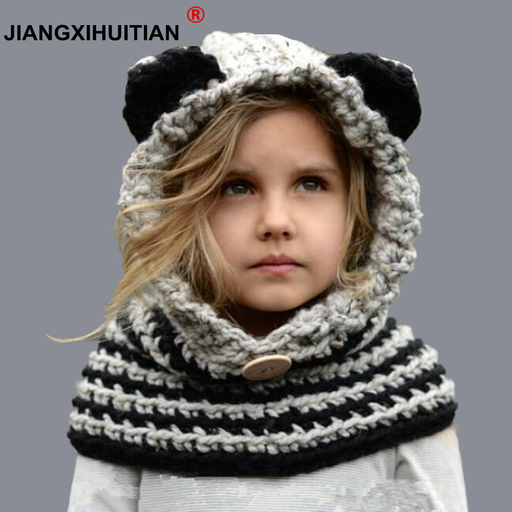8 Style 1-7 Y Baby Girls Balaclava Winter Hats Handmade Kids Hats Wrap Fox Scarf Caps Cute Autumn Children Wool Knitted Hats