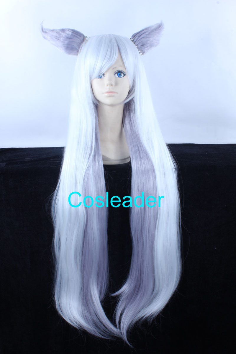 Quality Thick Gugure Kokkuri San Wig 100cm Long Straight Two Tone Ombre  White Mix Light Purple Cosplay Wigs with Ears 766bc630a