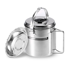 Ultralight Camping Cookware Hanging Pot 304 Stainless Steel Pot for Camping Picnic Cooking Travel Activities outdoor picnic stainless steel hand bill of lading handle bento pot hiking pot camping barbecue cooking cookware picnic cookers