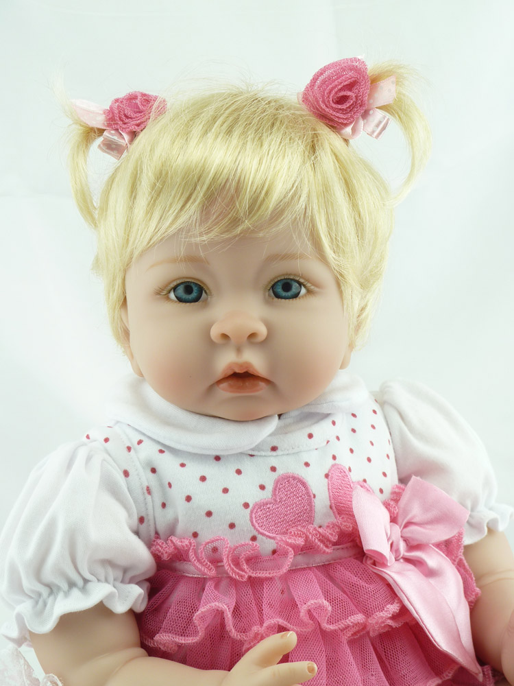 Reborn bébé poupée 22 pouces 55 cm Silicone vinyle fille poupée cheveux blonds doux tissu corps vivant enfant en bas âge bébé noël cadeau pour les enfants - 2
