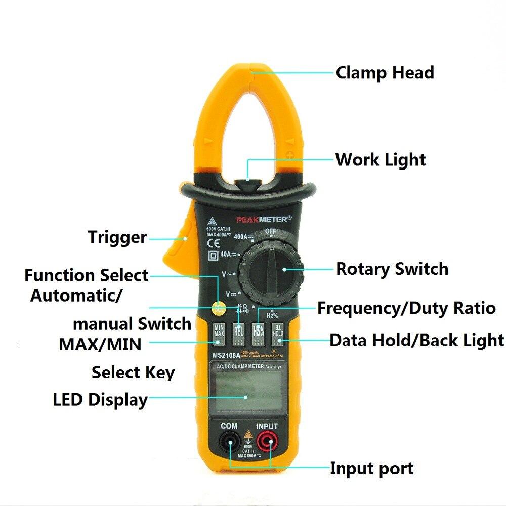 MS2108A Multimètre Pince multimètre Numérique Résistance DC AC Tension Courant LED affichage