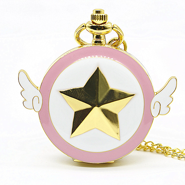 Lovely Pink Sailor Moon For Child Lady Quartz Pocket Watch Star Wings Fob Clock Necklace With Chain Gifts For Children's Day