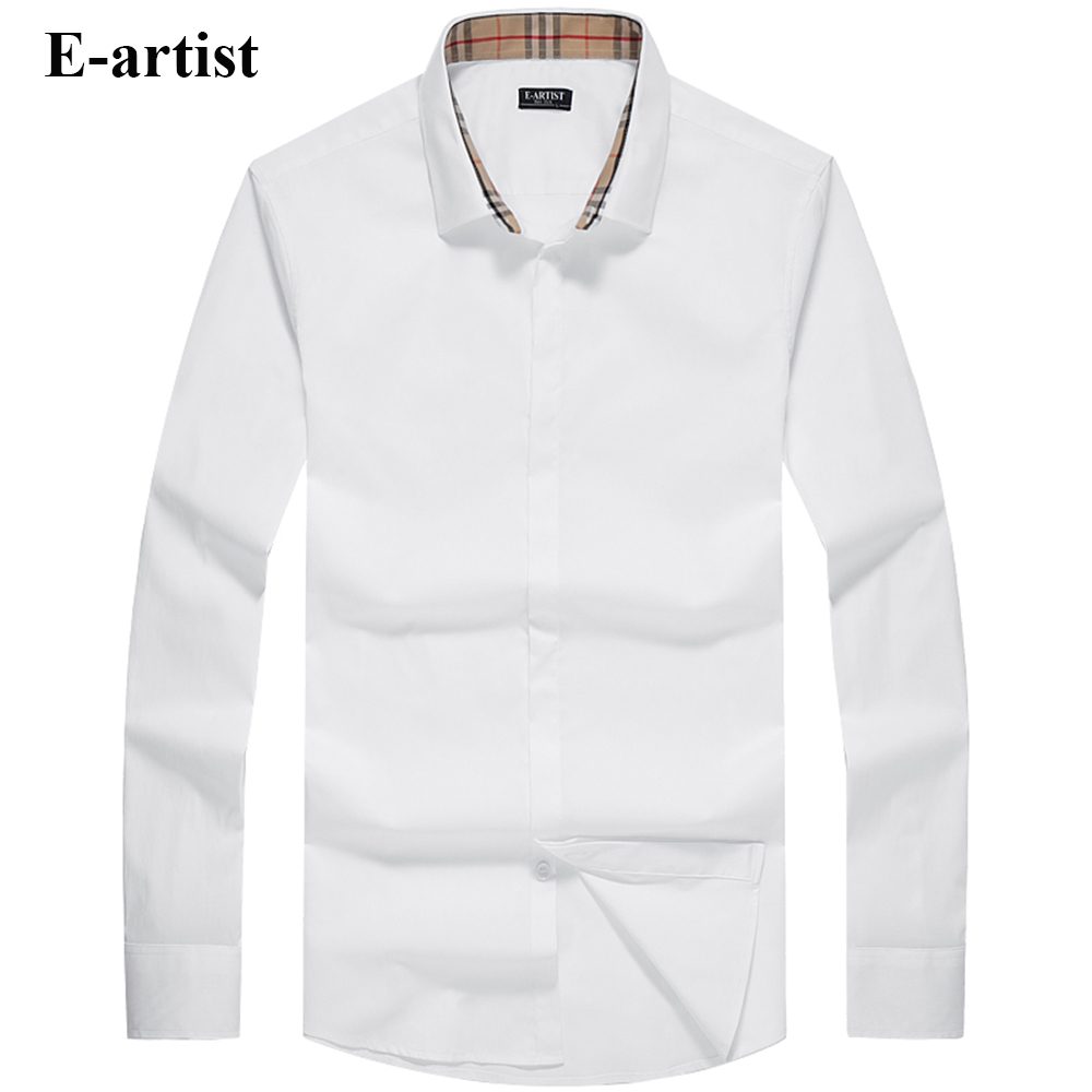 E artist Men s Slim Fit Business Casual Cotton Dress Shirts Male Long Sleeve Spring Autumn