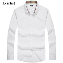 E-artist Men's Slim Fit Business Casual Cotton Dress Shirts Male Long Sleeve Spring Autumn Formal Tops Plus Size 5XL C76