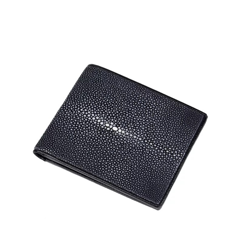 Luxury Designer Genuine Smooth Skate Skin Men s Short Thin Clutch Wallet For Man Real Stingray