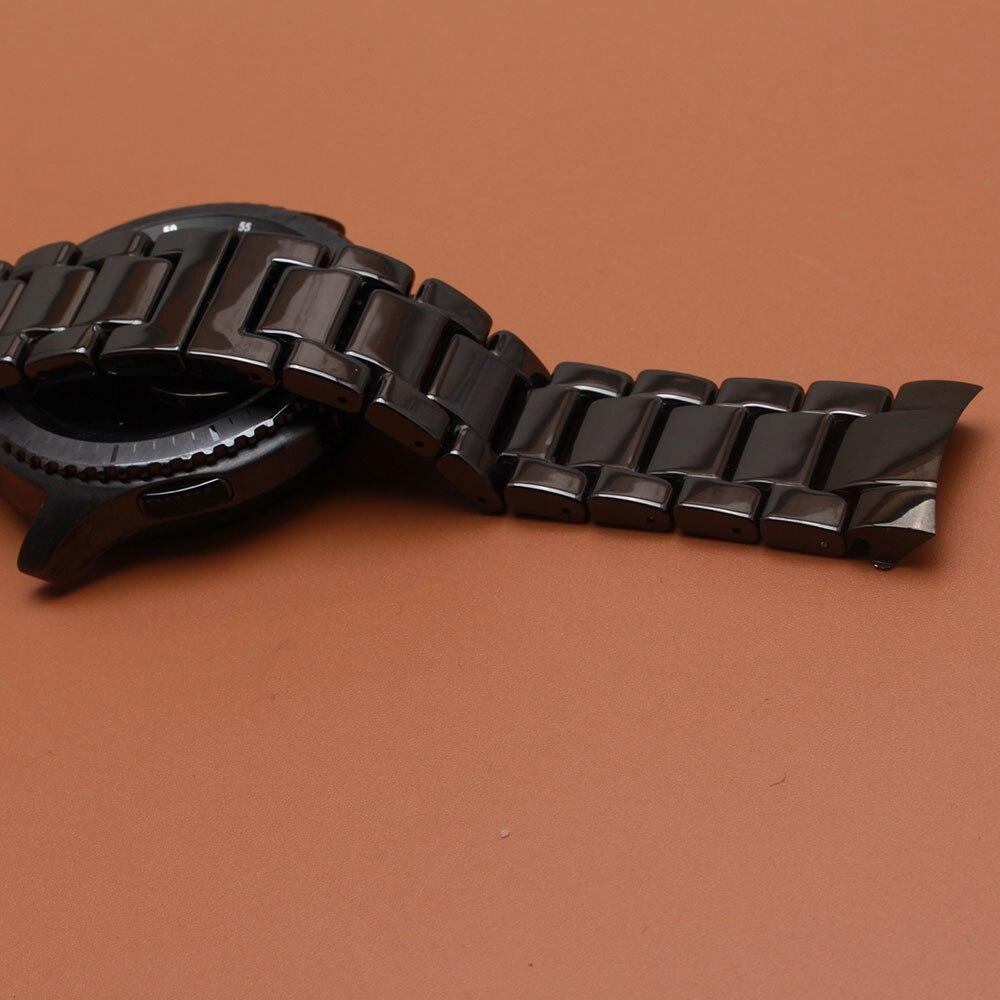 Ceramic Watch Band Strap solid Link Bracelet fit gear s3 men wristwatchband 22mm polished black watchbands
