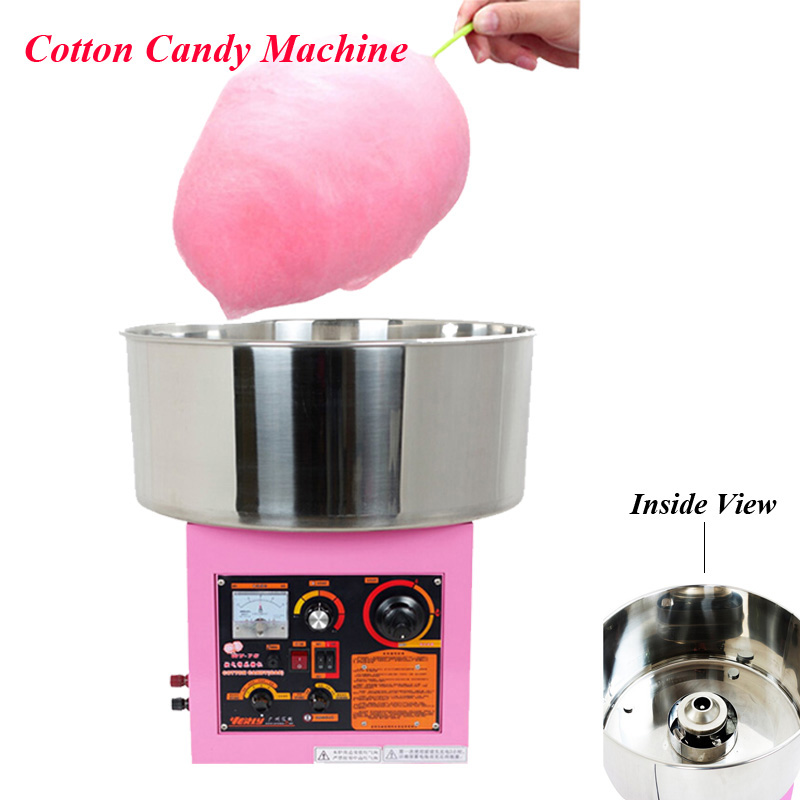 Electric /Gas Cotton Candy Machine Commercial Candy Cotton Maker Stainless Steel Candy Cotton Machine in Pink Color WY-771 cukyi household electric multi function cooker 220v stainless steel colorful stew cook steam machine 5 in 1