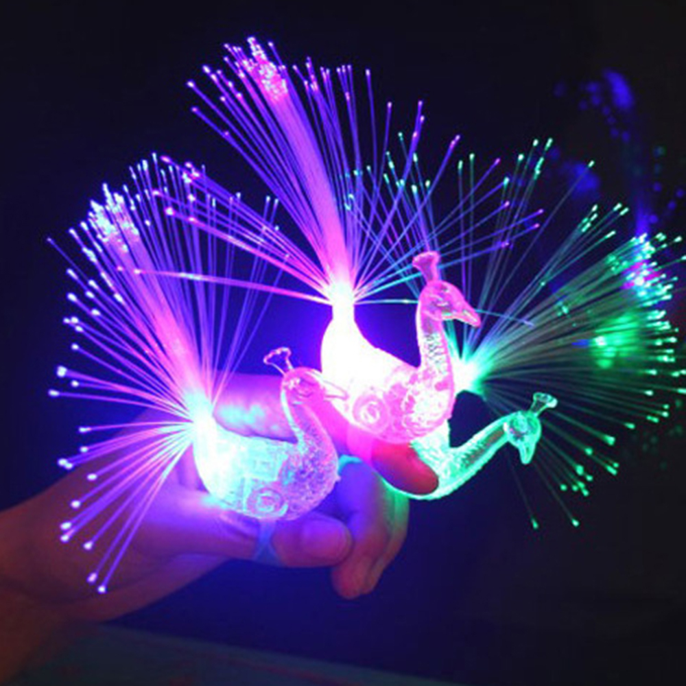 1Pc Colorful Finger Lights Creative Peacock Finger Lights LED Glowing Dazzle Luminous Color Rings Children's Kids Novelty Toys