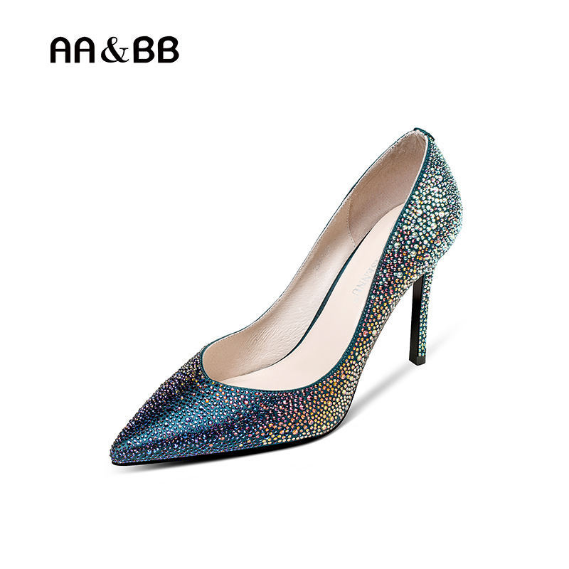 AA&BB 2018 spring / autumn blue crystal shoes woman pointed toe thin heels elegant high heel slip-on shallow pumps spring autumn shoes woman pointed toe metal buckle shallow 11 plus size thick heels shoes sexy career super high heel shoes