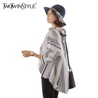 TWOTWINSTYLE Striped Lace Up Top Female Blouse Long Sleeve Women S Shirt Big Sizes Tops Casual