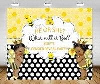 Custom Biene Geschlecht Offenbaren Baby Dusche African American Polka Dot fotografie hintergründe Computer print geburtstag hintergrund-in Hintergrund aus Verbraucherelektronik bei