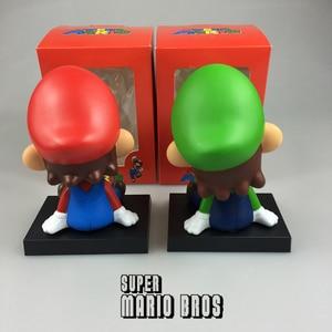 Image 5 - Komik süper Mario Bros araba bebek kafa sallayarak oyuncak modeli güzel araba süsler oto İç dekorasyon aksesuarları çocuklar hediye 2019
