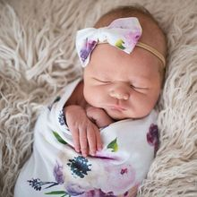 Newborn Photography Prop Baby Blankets Printed Infant Boys Girls Sleeping Swaddle Muslin Wrap +Headband 2PCS