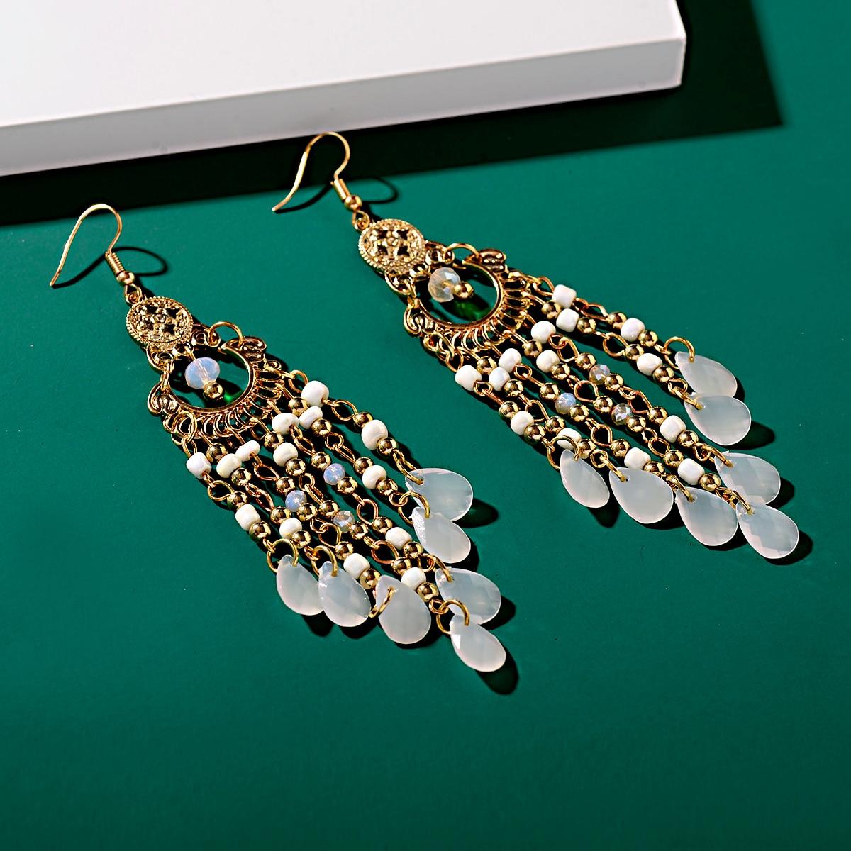 Classic Trendy Women's White Crystal Long Tassel Earrings 2019 Fashion Jewelry Bohemia Beads Wedding Earrings Hangers