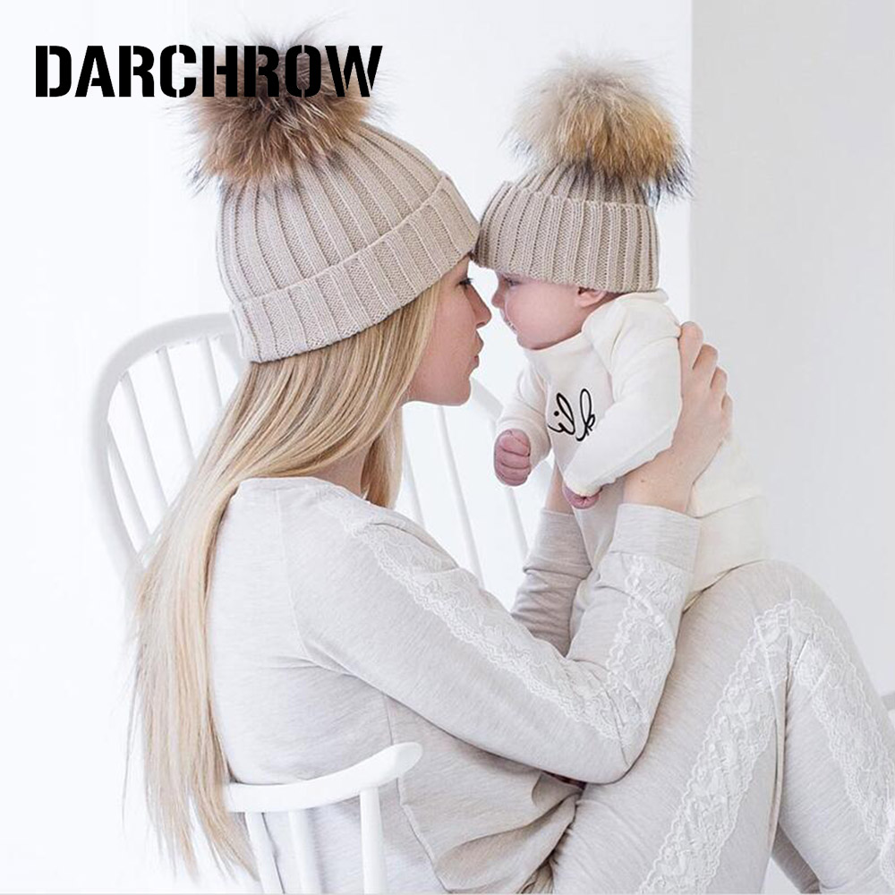 Babies Beanies Caps Child Crochet Winter Warm Knit Hats Casual Tupe Ball Hat New
