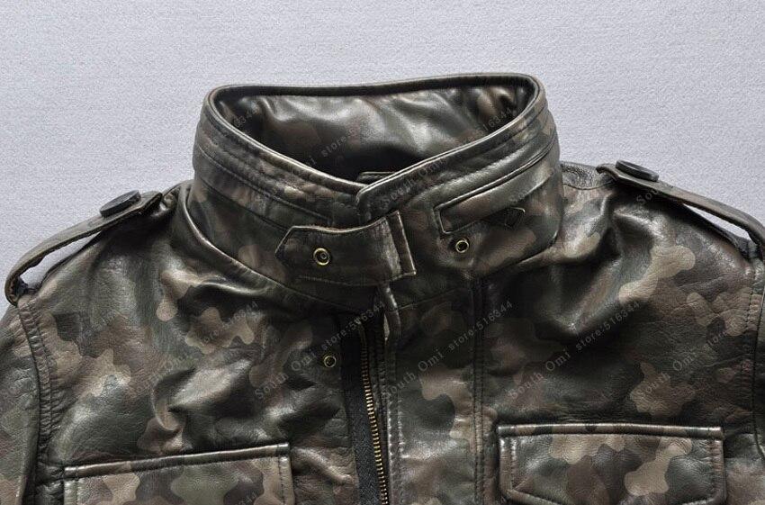 Wenter Hombres Chaqueta De Cuero Piel Camuflaje Para Collar Hombre Y Abrigo  Trench Vaca Otoño RxUvqBvAw 6cb528162bc