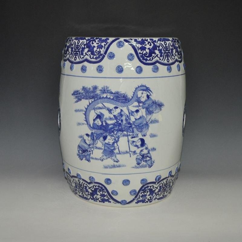 все цены на Delicate Blue And White Porcelain 16'' Tall Chinese Children Design Ceramic Outdoor Stool онлайн