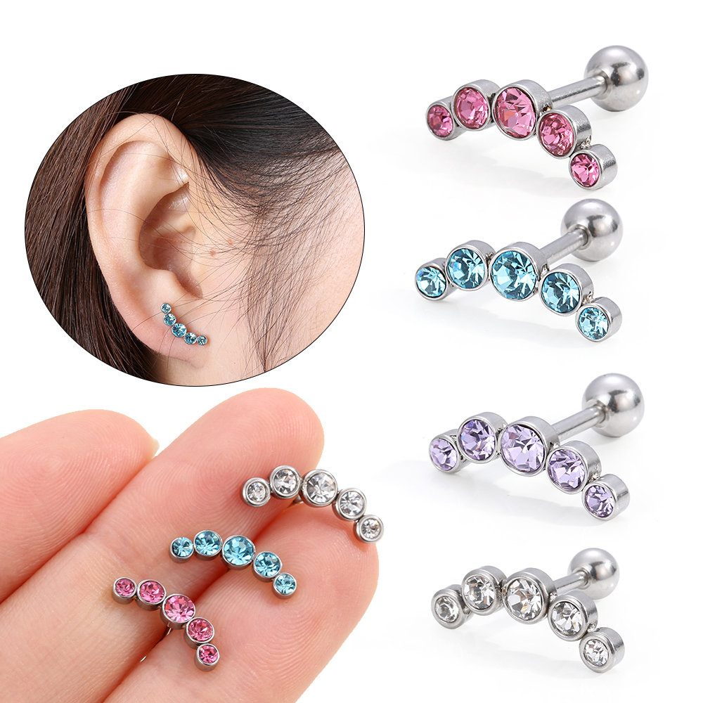 HTB1oELVc8Kw3KVjSZFOq6yrDVXaB - 1 PC Cartilage Helix Tragus Stud Earrings Ear Nail Stainless Steel Bar Piercing Crystal Body Jewelry Accessories Gifts for Women