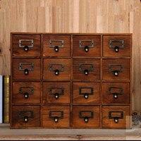 1PC Household Storage Organization Decoration Wood Vintage Wooden Bed Wall Storage Case Drawer Makeup Box Storage Box EJL 0900