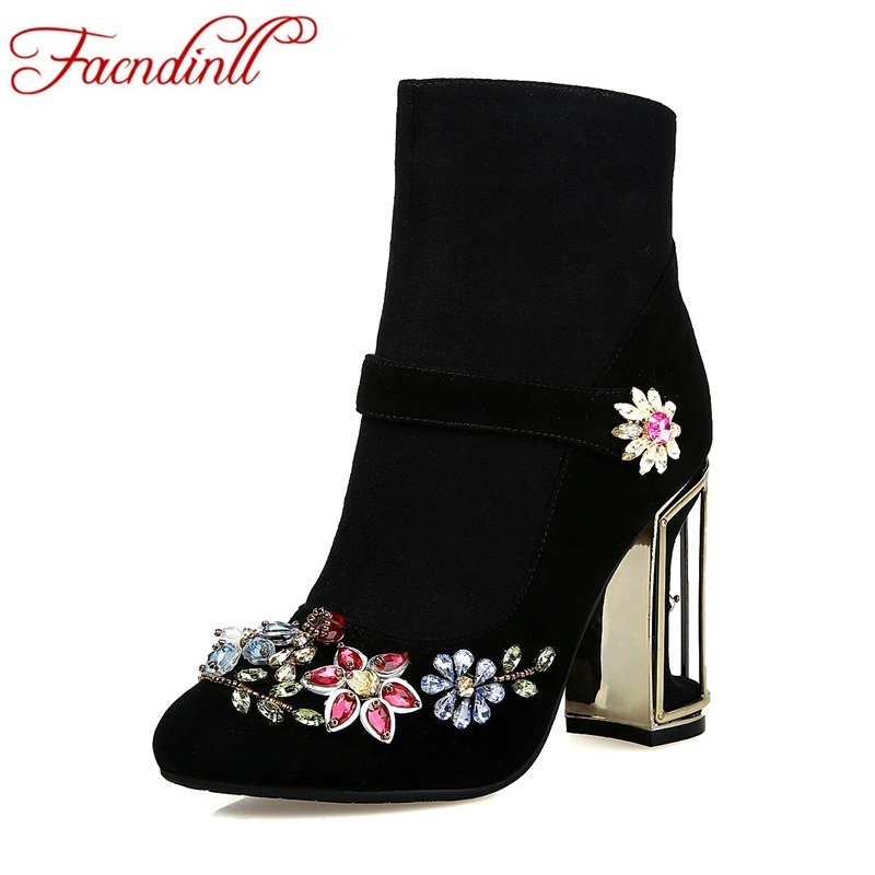 FACNDINLL fashion autumn winter boots genuine leather high heels round toe rhinestone shoes woman ankle boots dress party shoes