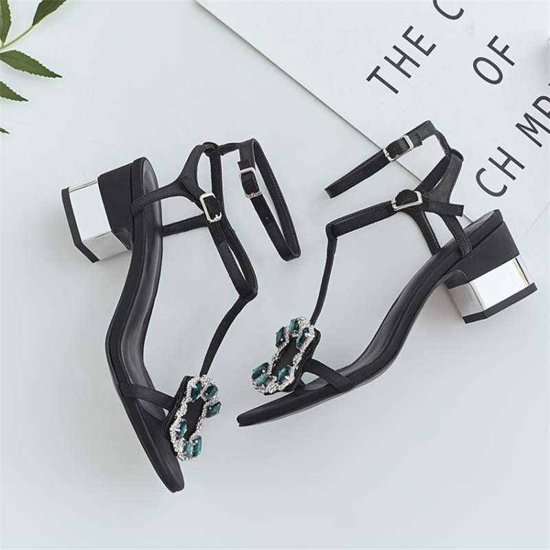Ouqinvshen Crystal Summer Sandals Black Blue Fashion Square Heel Silk - Zapatos de mujer - foto 3