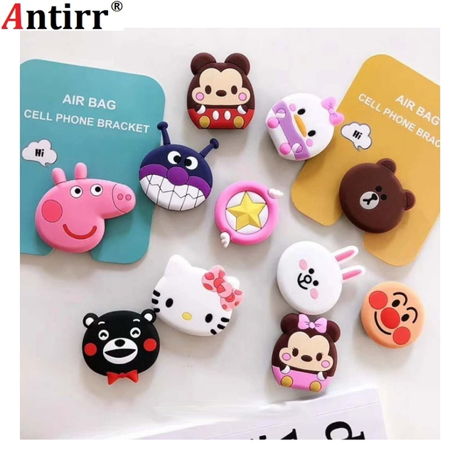 ae8724060 New mobile phone bracket Cute hello kitty air bag Phone Expanding Stand  Finger Holder For iPhone Sakura luna cat phone ring