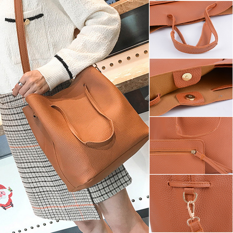 ba53fd319a9c US $10.99 34% OFF|4PCS Women's Bag Set Fashion Litchi Print Handbag Tassel  Messenger Bag Shoulder Bag Wallet Lady PU Leather Crossbody Bag 2018-in ...