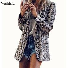 2019 Aumtmn chaqueta de piel de serpiente para mujer, trajes Vintage, Blazers para mujer, chaquetas americanas de leopardo con bolsillos de manga larga para mujer