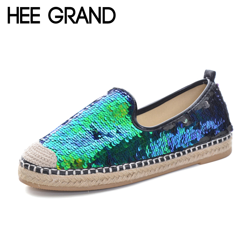 HEE GRAND Bling Bling Loafers Weave Straw Ballet Flats Casual Fisherman Shoes Woman Slip On Comfort Flats Women Shoes XWD5967 lanshulan bling glitters slippers 2017 summer flip flops platform shoes woman creepers slip on flats casual wedges gold