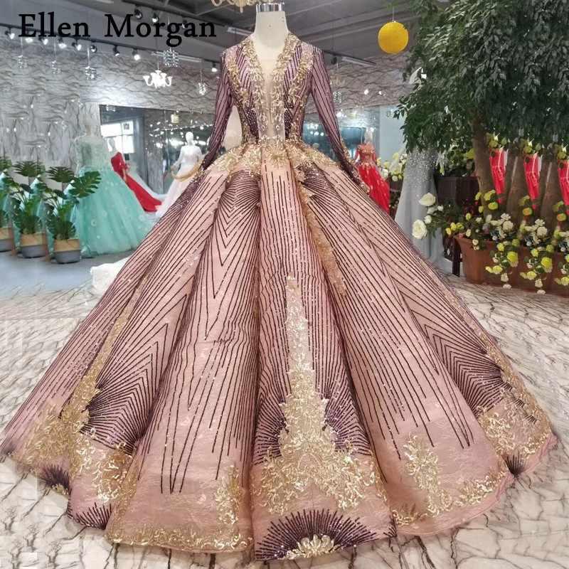 abeba2f1b6 Saudi Arabia Long Sleeves Wedding Dresses 2019 Custom Made Glitter Floor  Length Beaded Crystal Vintage Bridal Gowns for Women