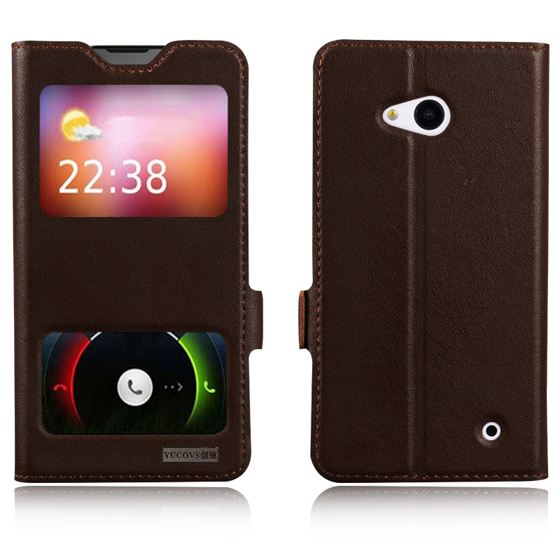 Window Cover Case For Nokia Lumia 640 N640 Top Quality Genuine Leather Magnet Flip Stand Mobile