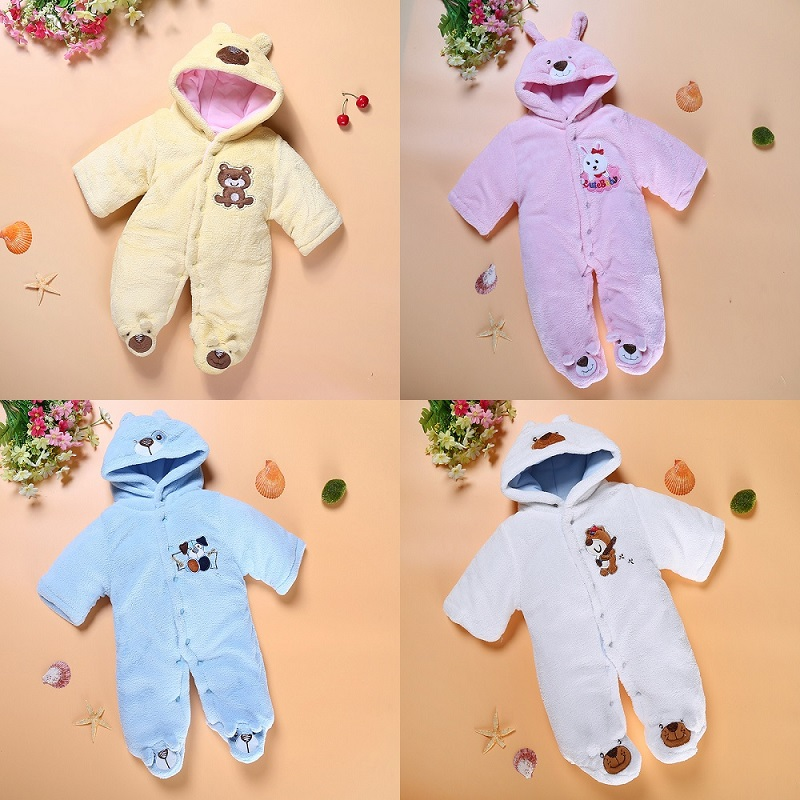 Bear Baby Rompers Warmer Hooded Coats Baby Boys Clothes Newborn Jumpsuits Outfits Long Winter Fleece Baby Girl Jacket Overall cotton baby rompers set newborn clothes baby clothing boys girls cartoon jumpsuits long sleeve overalls coveralls autumn winter