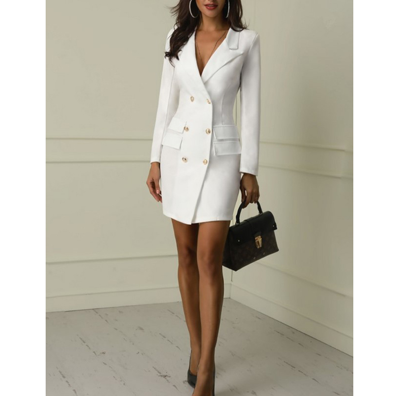 2019 European and American women 39 s double breasted Slim sexy windbreaker solid color thin coat dress in Dresses from Women 39 s Clothing