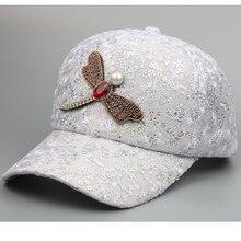 Lentejuelas moda gorra de béisbol de lujo libélula de cristal papá sombrero  mujeres sombrero de malla 799479e00f0