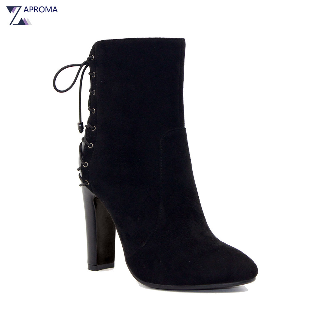 2018 Lace Up Rome Chunky Heel Women Ankle Boots Faux Suede Black Super High Heel Pointed Toe Shoe Short Plush Autumn Winter Lady moraima snc chic women winter platform pointed toe mid calf boots solid black lace up fringe vintage suede high heel