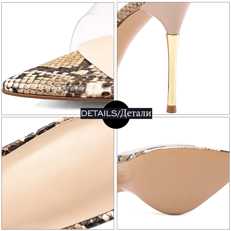 Snake Maultiere Toe Schuhe Frau Sommer High Peep silber Schlange Heels Wetkiss Frauen Slides 2019 Pvc Neue Weibliche Transparent Hausschuhe YxTwnCtX7q