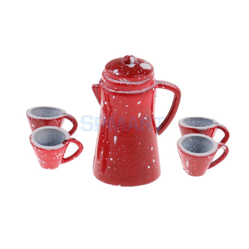 1//12 Chinese Porcelain Coffee Tea Set Dollhouse Miniature Cookware Decor Red
