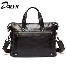 DALFR Cowhide Crossbody Bags Solid Zipper Casual Style Handbags 19 Inch Genuine Leather Messenger Crossbody Bags for Men