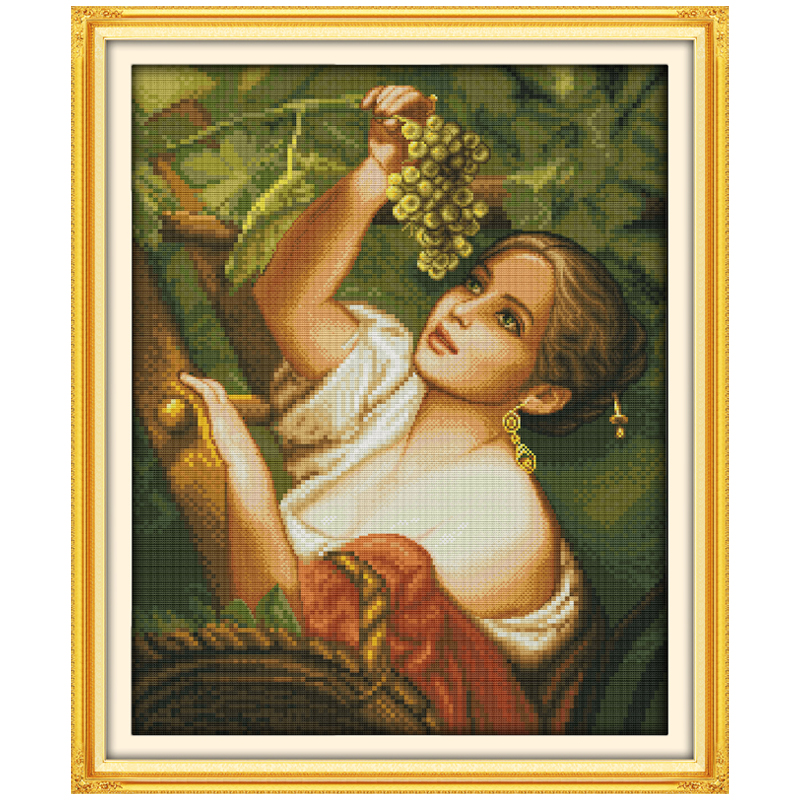 The Plucking Grapes Girl PatternsCounted Cross Stitch 11 14CT Cross Stitch Sets Chinese Cross-stitch Kits Embroidery Needlework