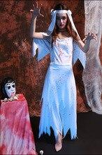Halloween devil canival dress Corpse bride white Costume for women zombie Scarey fancy dress ball fantasia anastasia costume