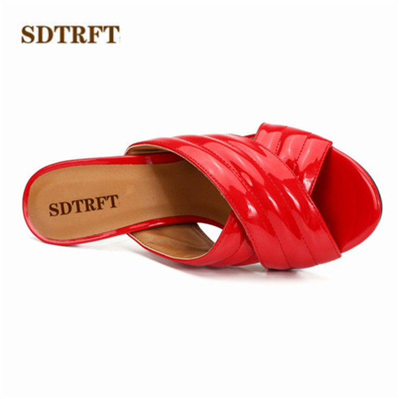 SDTRFT transparent 10cm thick heel single Sandals peep toe Slipper shallow mouth women's shoes fashion Crossdresser RED pumps