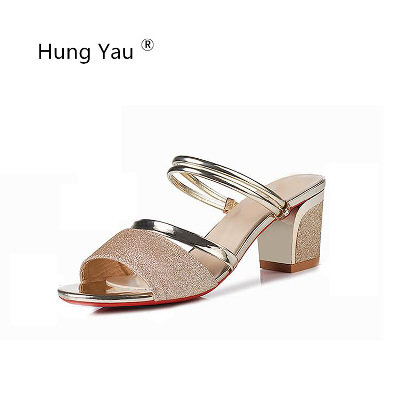 Hung Yau Shoes For Women Sandals High Heel Bling Gold Sandal Roman Summer Style Pumps Crystal Slippers Casual Shoes Size 8 new women sandals low heel wedges summer casual single shoes woman sandal fashion soft sandals free shipping