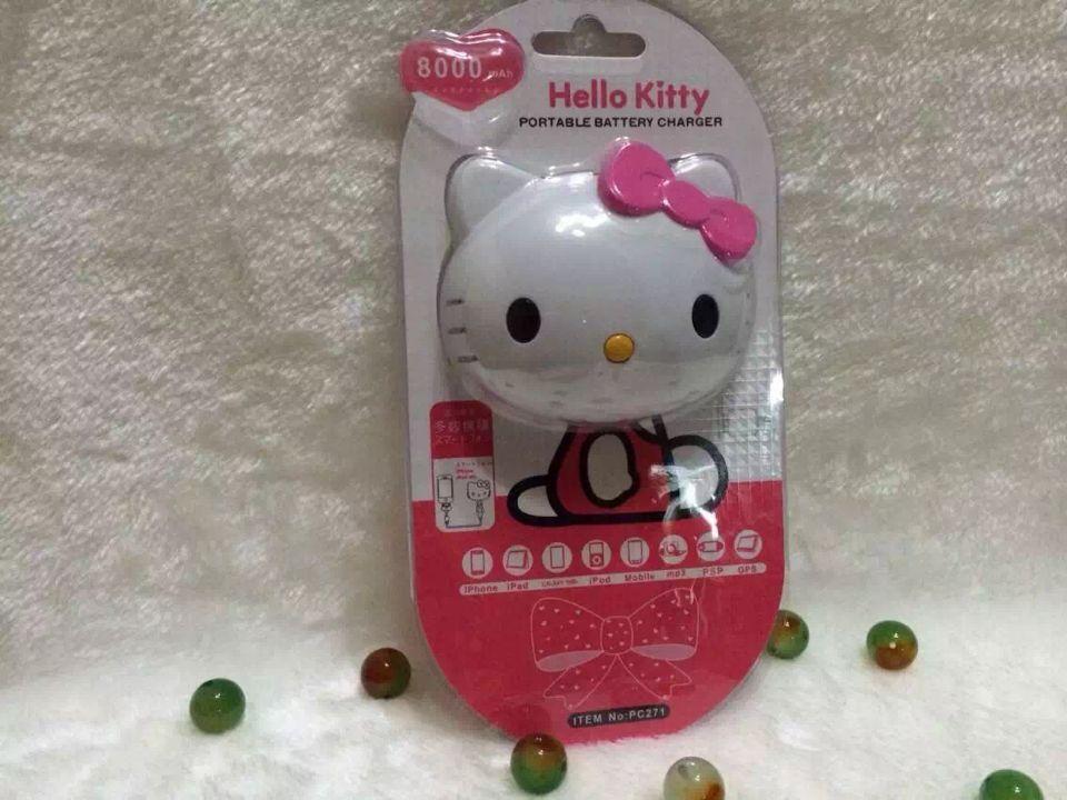 imágenes para 8000 mah hello kitty stitch portátil para iphone samsung banco de la energía externa del cargador de batería 3 en 1 cable envío gratis