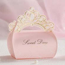 10/30/50pcs Wedding candy box, creative princess style, European style wedding pink big box for gift