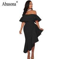 Abasona Off The Shoulder Dress Women Evening Party Bodycon Ruffled Dress Sexy Club Sheath Asymmetrical Short