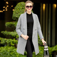 Europe 2015 winter fashionable red woolen suit as straight-around wallet grey wool coat women
