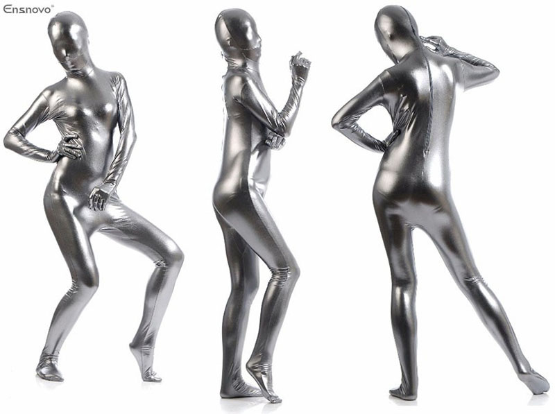 b9d6e2d1999 Ensnovo Unisex Zentai Flesh Full Body Costume Shiny Metallic Zentai ...