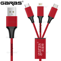 GARAS Nylon Braided 3in1 Micro USB 8 Pin Lightnting Type C USB C Connector Fast Charging