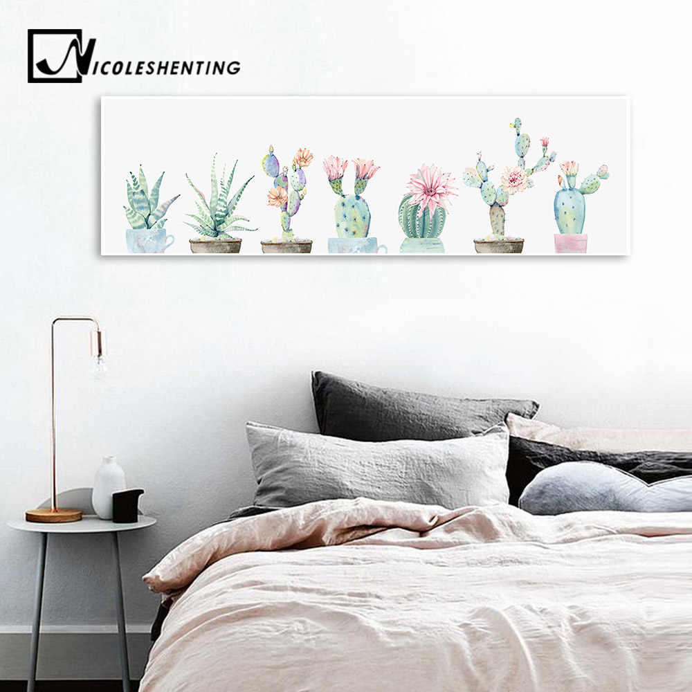 Flower Cactus Decoration Plant Wall Art Canvas Poster and Print Landscape Painting Long Wall Picture for Living Room Home Decor