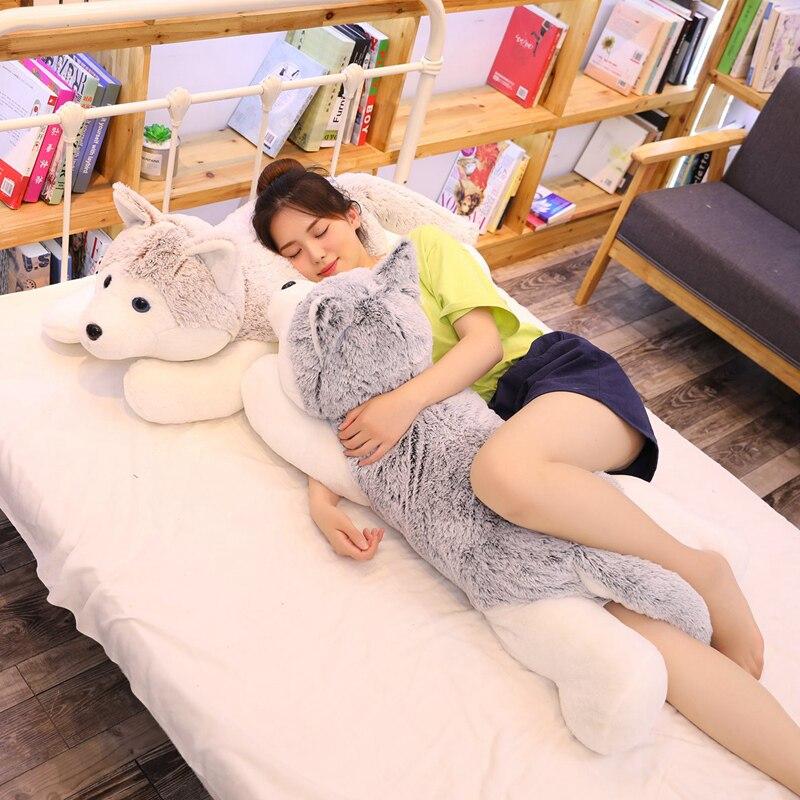 60-110cm Cute Lifelike Siberian Husky Dog Plush Stuffed Animal Toys Dolls Plush Pillow Sofa Cushion Kid Girlfriend Birthday Gift